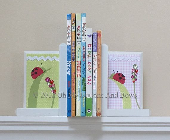 Childrens Bookends . HAND BEVELED EDGE . by OhMyButtonsAndBows, $56.99