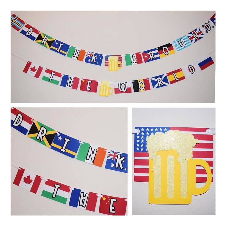 "Always up for a challenge! Created this #banner for a ""drink around the world"" birthday #party equipped with 24 different country's flags! Maybe I can convince #Epcot to purchase some of these babies"