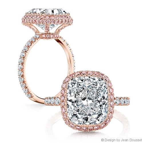 DEBORAH, exclusively from the Jean Dousset Diamonds La Vie en Rose® collection, is a custom, handcrafted engagement ring - JeanDousset.com - shown with a 5 Carats Cushion cut diamond in 18K Rose Gold. The La Vie en Rose® collection features rare, Fancy pink diamonds that are imported from the premiere Argyle Diamond Mine in Western Australia. #CushionCut #EngagementRing