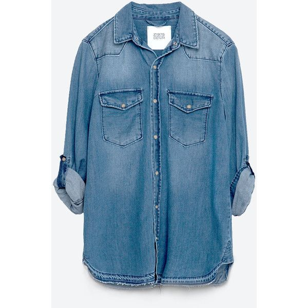 Zara Basic Denim Shirt ($50) ❤ liked on Polyvore featuring tops, indigo, zara top, denim shirt, indigo denim shirt, shirt top and zara shirts
