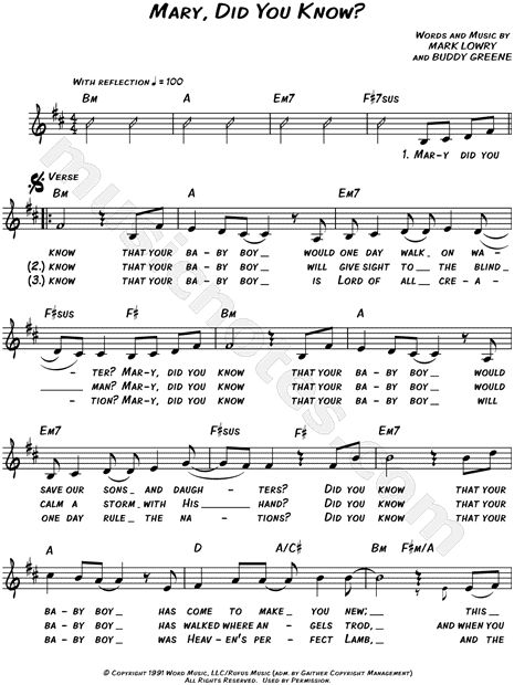 Mary, Did You Know? sheet music composed by Mark Lowry