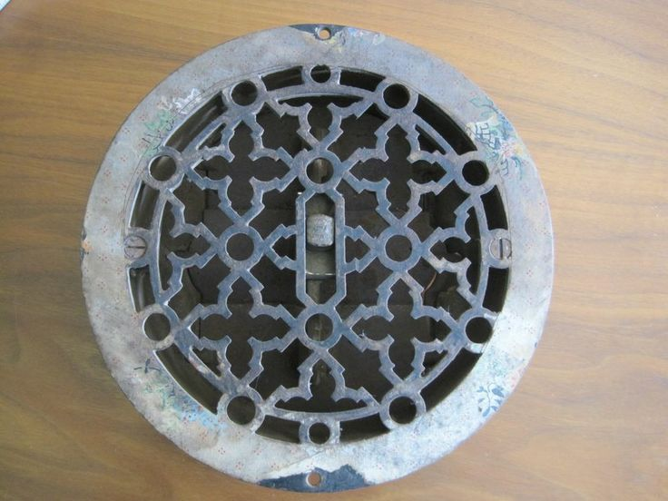 Antique Victorian Cast Iron Floor Register Round 7