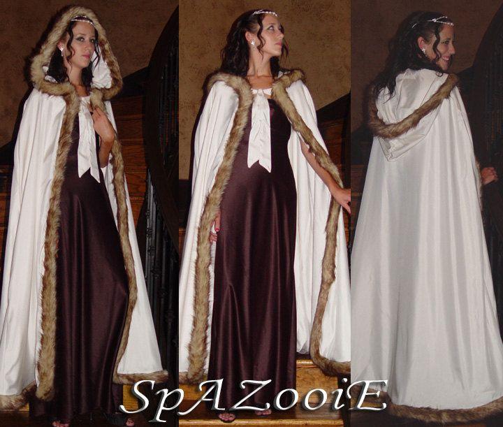 Medieval Faux Fur Fox Trim Satin Cloak Bridal Renaissance