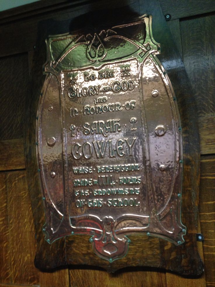 Bronze memorial plaque in Honour of Sarah Cowley . Now at Hard Lane but formerly hanging beside the stage in North Block at the girls school .