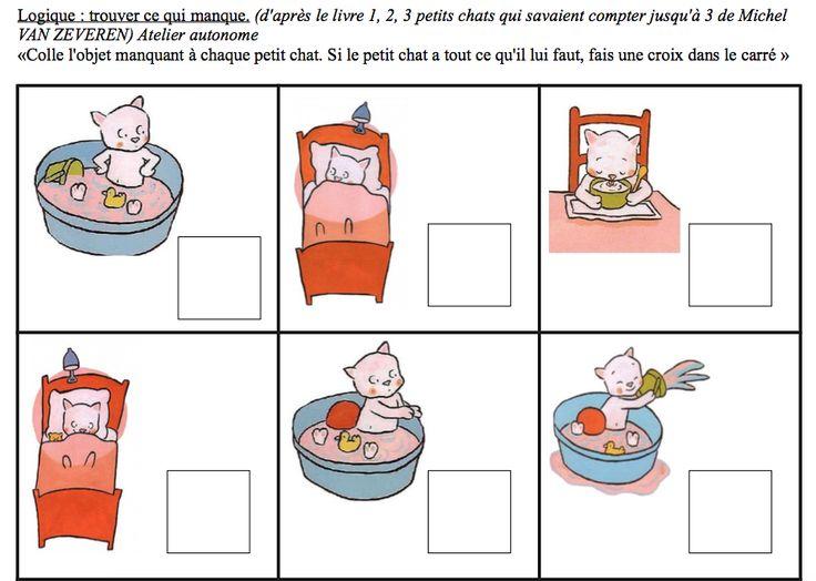 Je viens de travailler sur le livre 123 petits chats et j'ai utilisé ton travail(merci). Je l'ai complété par une fiche pour les moyens. Je t'envoie donc le petit fichier pdf (avec utilisation de tes images) pour les MS (il s'agit de trouver ce qui manque...