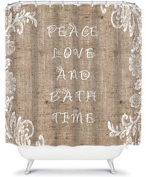 Beautiful Burlap Shower Curtain Lace Peace by xOnceUponADesignx
