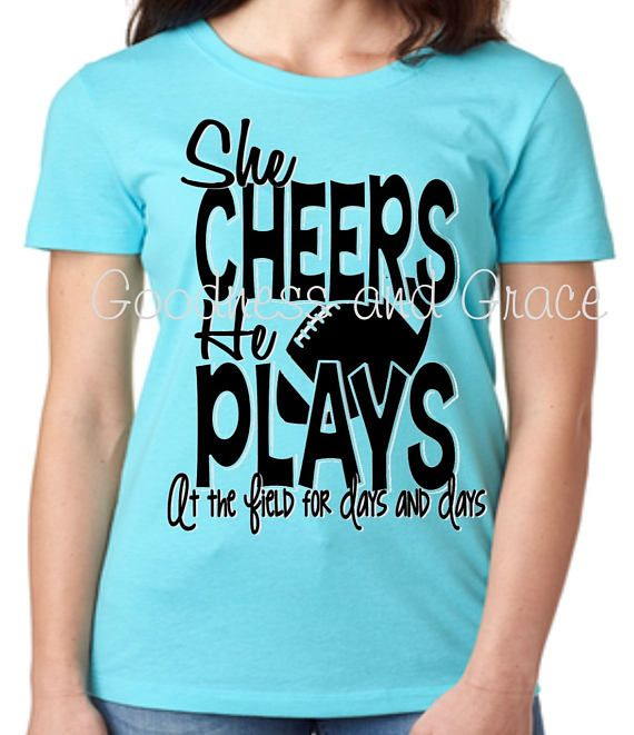 She Cheers He Plays At the Field for Days and Days - the perfect shirt for the mom who does it all - cheerleader AND football player!  Team Mom Monogram - Football Shirt available in team colors