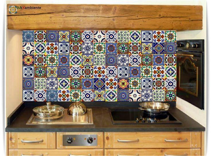 Bunte Dekorfliesen aus Mexiko für den Fliesenspiegel in der Küche - Leuchtende handbemalte Fliesen von Mexambiente.
