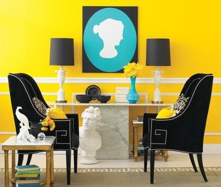 teal, brown, yellow combo: Yellow Rooms, Living Rooms, Yellow Wall, Chairs, Silhouette, Black White, Colors Schemes, Home Decor, Hollywood Regency