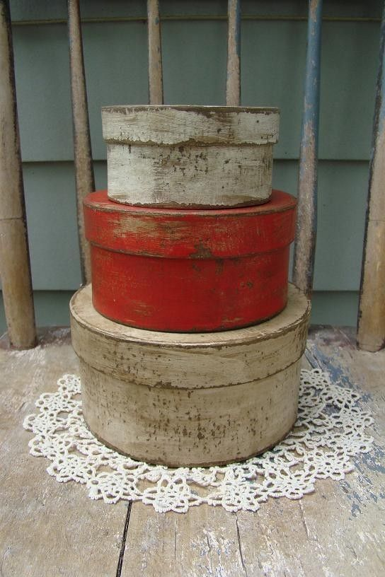 Primitive Shabby Red and White Pantry Paper Mache Boxes, Valentines or anytime. $16.98, via Etsy.