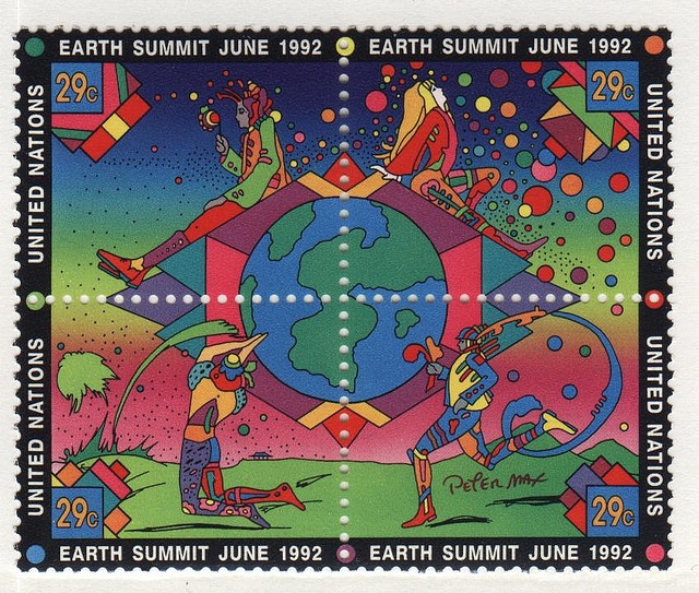 Peter Max postage stamps for earth summit 1992