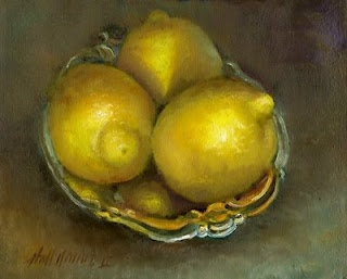 "Lemons on Ornate Silver Plate 8""x10"" Oil by Hall Groat II, Contemporary American Artist"