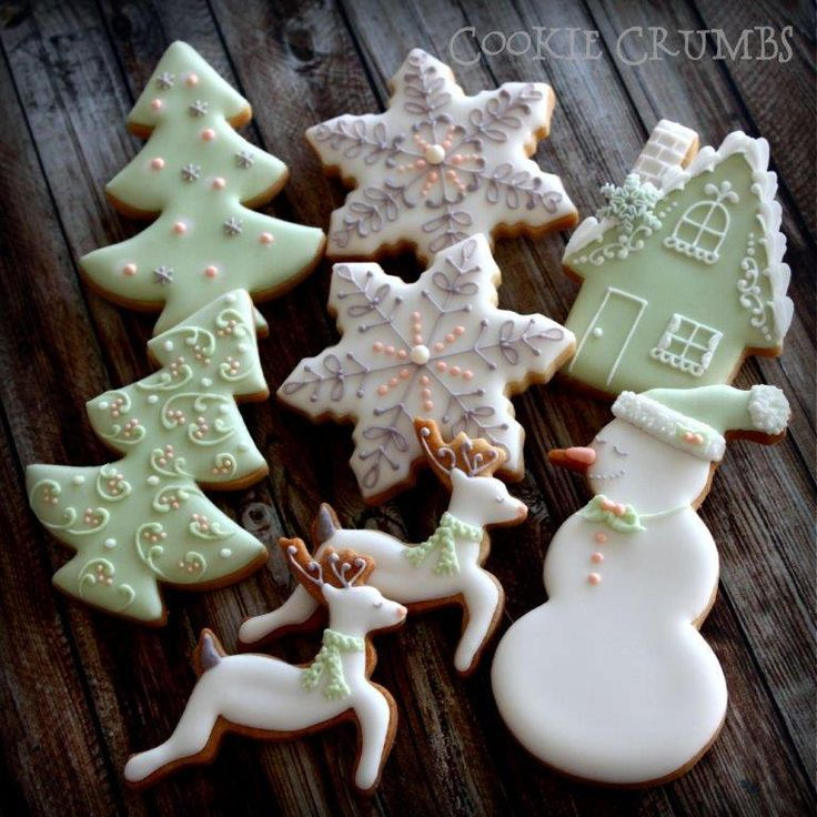 Pale Green & White with Gray and Peach Snowflake, Deer, Snowman and Snow-covered House Christmas Cookies