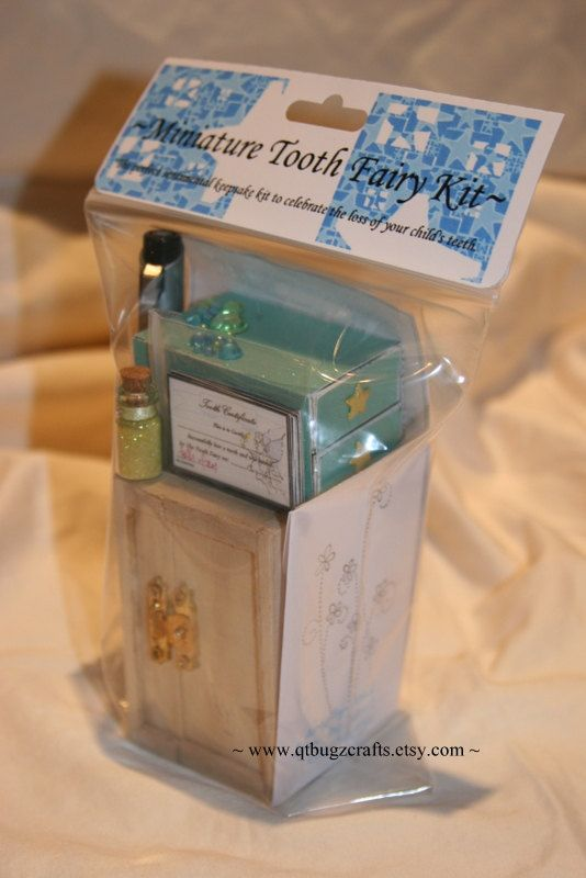 Miniature Tooth Fairy Box Kits...Blue by QTbugzCrafts on Etsy