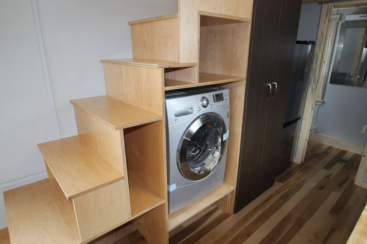 Tiny house/tiny home washer dryer, refrigerator and closet under the stairs