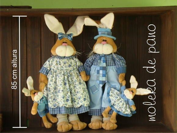 Família de coelhos | Moleka de Pano | 213C8B - Elo7