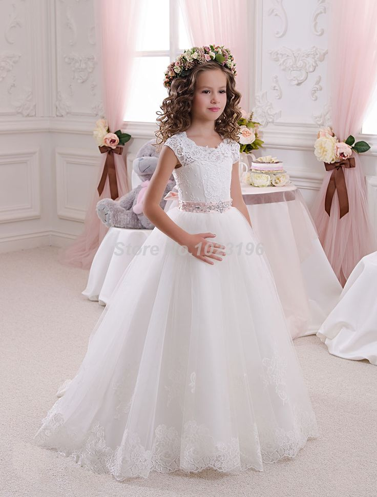 Hot Pretty Scoop Ivory White Lace Flower Girls Dresses 2016 Ball Gown Belt Floor Length Girls First Communion Dress Party Dress-in Flower Girl Dresses from Weddings & Events on Aliexpress.com | Alibaba Group