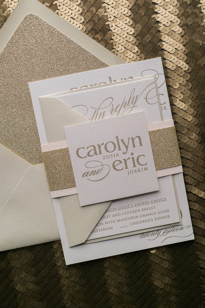 CYNTHIA Suite Glitter Package, blush and gold, metallic wedding invitations, glitter, letterpress
