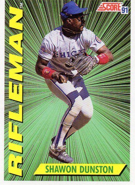 1991 Score Baseball Card Rifleman Shawon Dunston