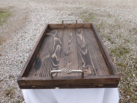 Reclaimed Wooden Serving Tray With Jacobean Finish, Cocktail Tray, Breakfast Tray, Ottoman Tray, Kitchen Decor, Table Decor on Etsy, $35.00