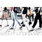 Picture from random crowd passing in the walking street of Haugesund (Haraldsgata).