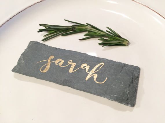 Calligraphy Slate Stone Place Cards with Gold Writing - Rustic Slate Stone Escort Tiles - Personalized Wedding Favors - Silver or Gold