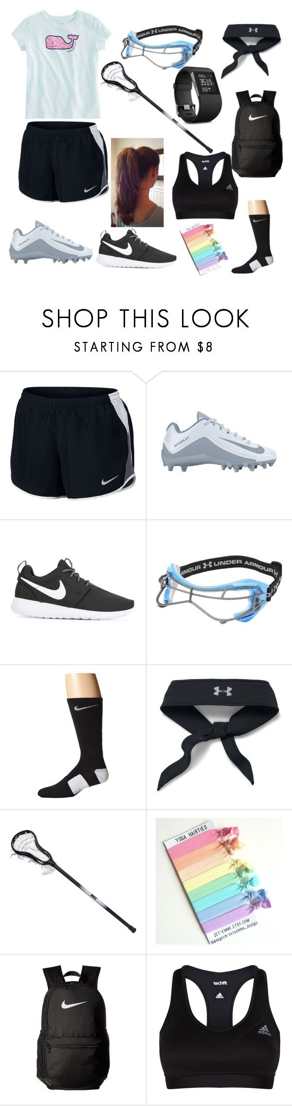 """""""Lacrosse Outfit"""" by neongirlz5 on Polyvore featuring Vineyard Vines, NIKE, Under Armour, adidas, Fitbit, Sports and lacrosse"""