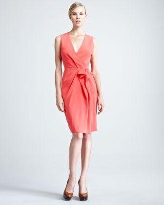 Crepe-Back Satin Dress by Paule Ka at Neiman Marcus.
