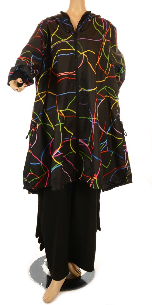 Maxjenny Fantabulous Limited Edition Art To Wear Squiggle Raincoat-Maxjenny, lagenlook, womens plus size UK clothing, ladies plus size lagenlook fashion clothing, plus size coats, plus size dresses, plus size jackets, plus size trousers, plus size skirts, plus size petticoats, plus size blouses, plus size shirts, plus size tops, plus size tunics, lagenlook plus size fashion clothing
