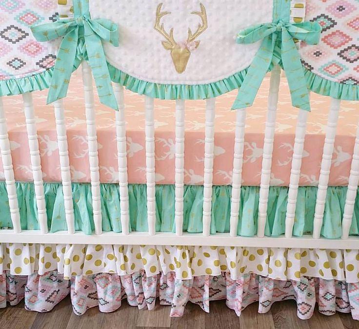 girl crib bedding deer bumperless crib bedding girl baby bedding deer nursery bedding gray pink mint gold