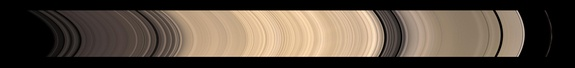 The Rings of Saturn-Credit: NASA/JPL/Space Science InstituteDetails of Saturn's icy rings are visible in this sweeping view from Cassini of the planet's glorious ring system. The total span, from A ring to F ring, covers approximately 40,800 miles (65,700 km) and was photographed at Nov. 26, 2008.