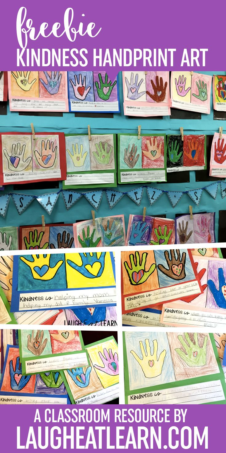 Celebrate Kindness and Love anytime of the year with these easy handprint art projects footers. Directions and photo found on my blog, which you can find the links after you download to make these handprint art projects in your classroom!