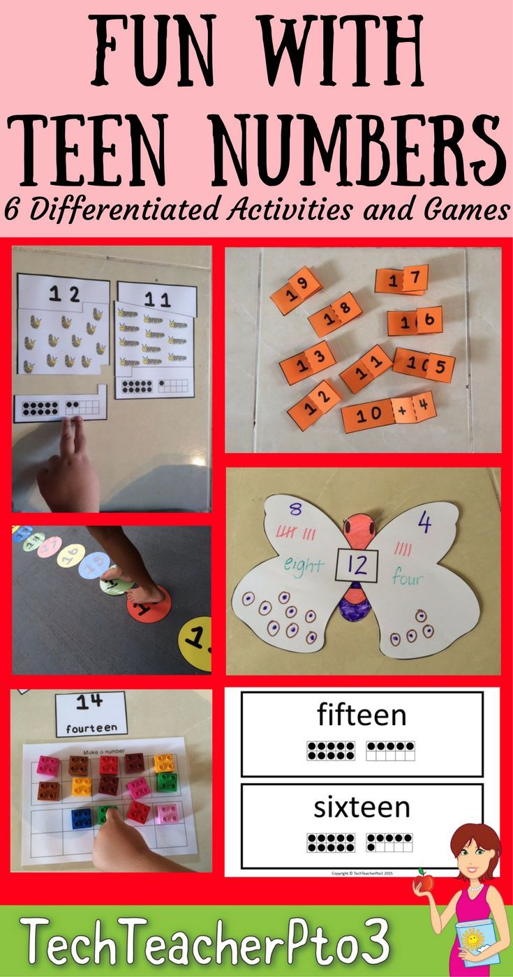 6 fun activities for explore teen numbers with little learners including games, maths centers and craft ideas.