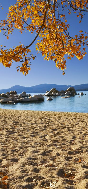 Gorgeous Lake Tahoe fall day. One of many beautiful Lake Tahoe beaches to spend a fall afternoon.