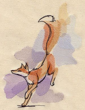 Painted Fox - Watercolor-style washes of color make up this graceful fox design.