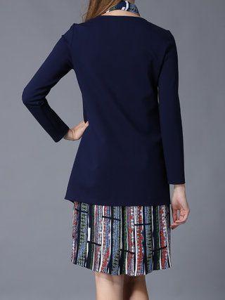 Royal Blue Paneled Long Sleeve Polyester Midi Dress