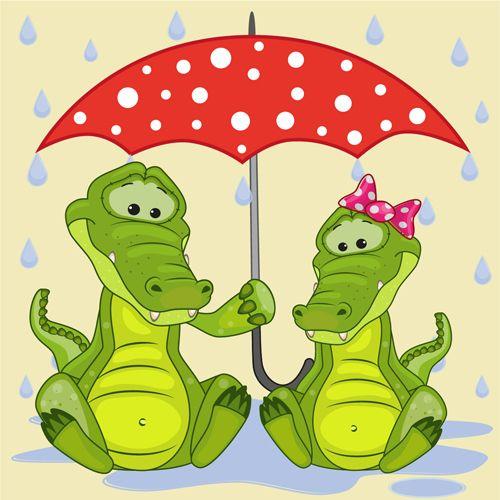 Cute animals and umbrella cartoon vector 15