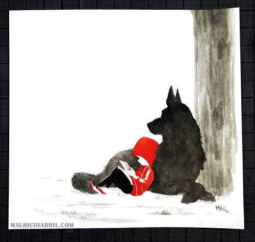 Red and Wolfie spend time reading