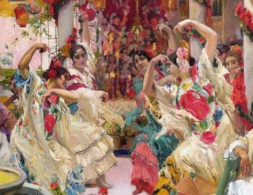 ソローリャがHispanic Society of Americaの依頼で描いた14枚の壁画の一部。セビリヤの踊りの様子を描いているもので20世紀の初頭のもの。服の形が結構現代のフラメンコドレスに近い。