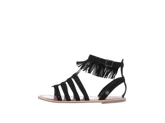 Černé dámské semišové sandálky s třásněmi Pepe Jeans -