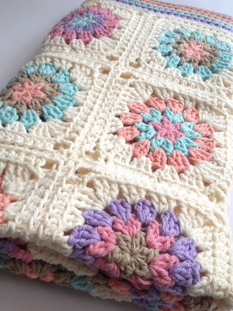 Three Beans in a Pod: granny square afghan with white border. Very nice