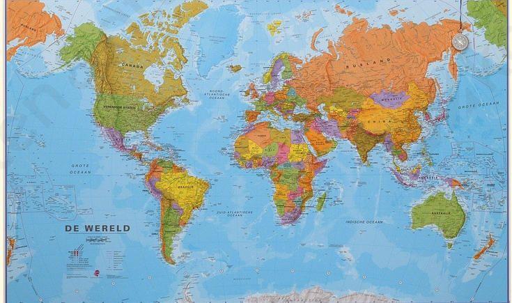 Mi Wereldkaart Staatkundig Nederlands Wereldkaart Wand Wereldkaart