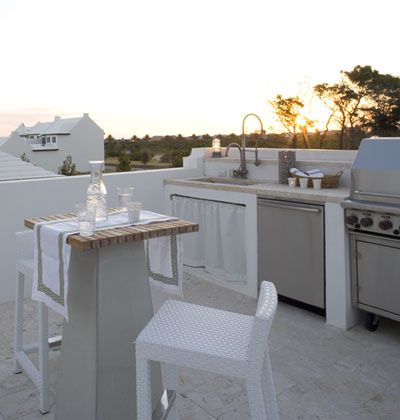An extravagant luxury..Coastal White Outdoor Kitchen with Built-in Dishwasher and Stainless steel appliances
