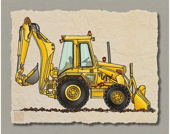 KID CONSTRUCTION ART cute digger backhoe. Whimsical vehicle print adds to kids room construction zone by Two Bananas Art.
