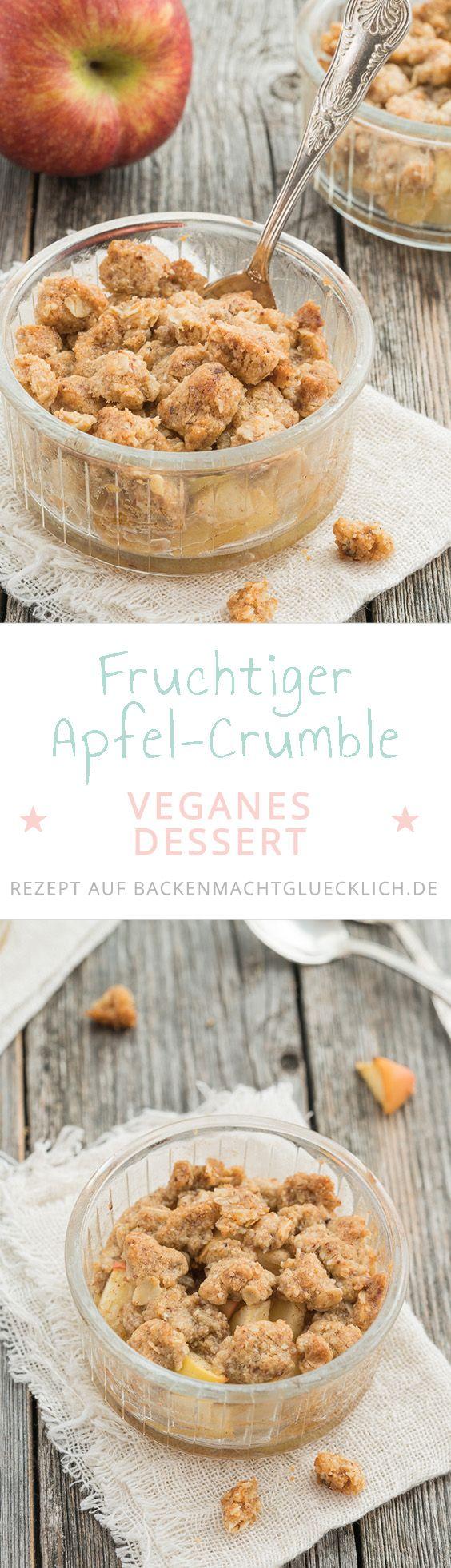 Bei diesem einfachen Apfel-Crumble Rezept kann man einfach die Butter durch vegane Margarine ersetzen. Dann ist der Apple-Crumble ein tolles veganes Dessert!