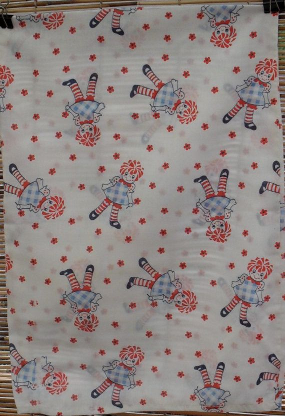 Vinage Raggedy Ann Nursery Baby Pillow Case / 11 x 15 fat quarter fabric on Etsy, $3.90