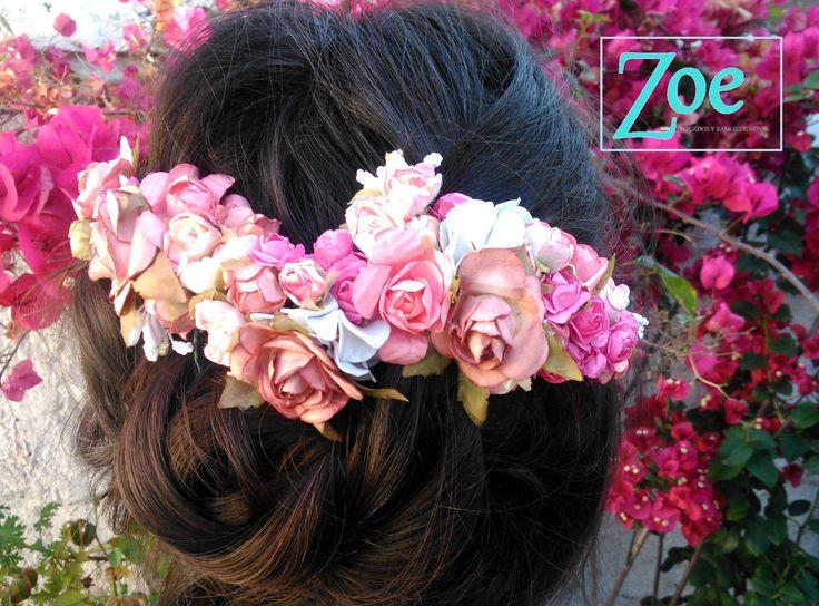 #tocados #ZoeNovias #matrimonio #novia #flores #color #verano #peinado #detalles #delicado #Chile / zoetocadosdenovia@gmail.com