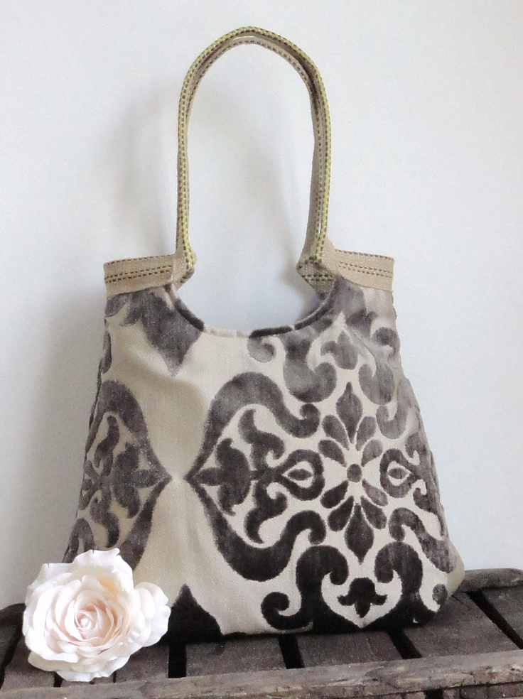 Taupe damask large carryall tapestry hobo bag with burlap Fall FASHION. $68.00, via Etsy.