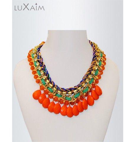 Multi Knit Orange Beads Crunchy Stones Necklace