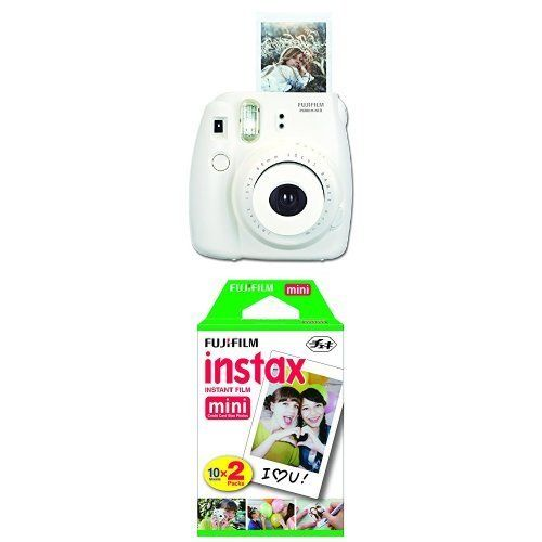 Fujifilm Instax Mini 8 Instant Film Camera (White) with Twin Pack Instant Film (White)
